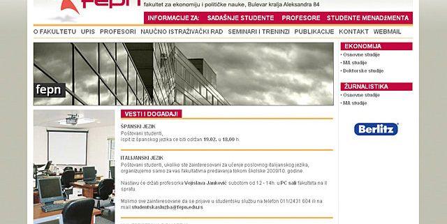 Fakultet za političke nauke FEPN / web dizajn